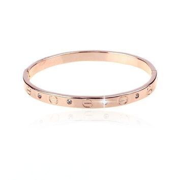Jewelry Lady/mens Love Silver Bangle Bracelet Chain Rose Gold