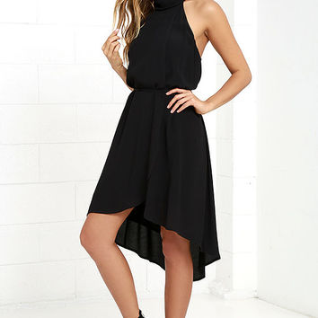 That and More Black High-Low Halter Dress