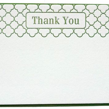 Letterpress Thank You Trefoil on Thick Cotton Card - choose color