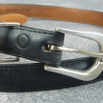 Women's Pat Areias Black Leather Skinny Belt / Sterling Silver Buckle / Size: 28