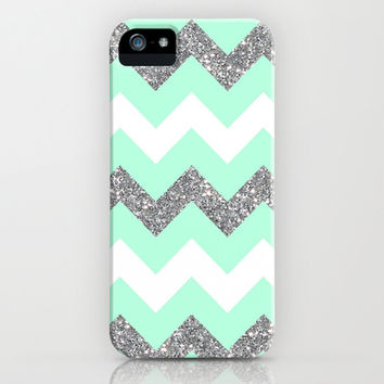 seafoam glitter chevron iPhone & iPod Case by Hannah