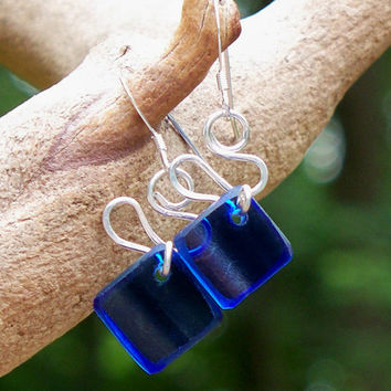 Bottled Up Cobalt Glass Ribbon Earrings