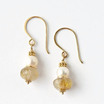 Golden Rutilated Quartz Earrings / Pearl Earrings / Gold Filled Gemstone Earrings / Gemstone Pearl Earrings / Mother of the Bride Jewelry