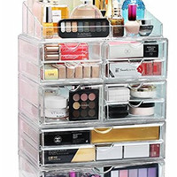 Acrylic XL 10 Drawer+9 Grid Makeup Organizer Storage Unit