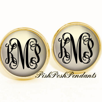 Monogram Earring Classic Tan Black , Personalized Monogram Stud Earrings, Monogram Jewelry, Bridesmaid Jewelry (517)