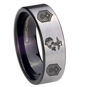 8mm Marine Chief Master Sergeant  Pipe Cut Brushed Silver Tungsten Mens Wedding Ring