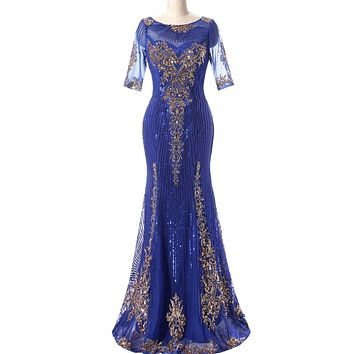 Hot sale New Arrival Mermaid/Trumpet Jewel Floor length Sequins lace Tulle Party gowns  Mother of the Bride Dresses Prom Dresses