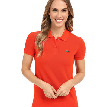 Lacoste Women's Orange Color Short Sleeve Pique Original Fit Polo Shirt
