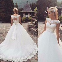 Cap Sleeves Spring Wedding Dress Sheer Neck Bridal Dress Custom Size 2 4 6 8 10