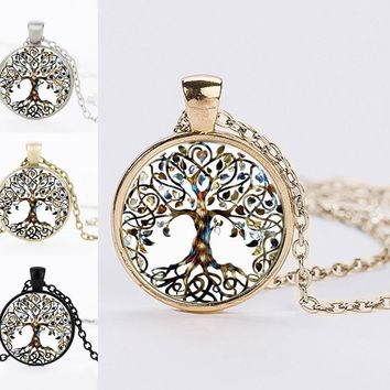 Lovely The Tree Of Life Glass Dome Jewelry Necklaces Fashion Silver Color Chain Life Tree Pendant Necklaces Best Friends Gifts