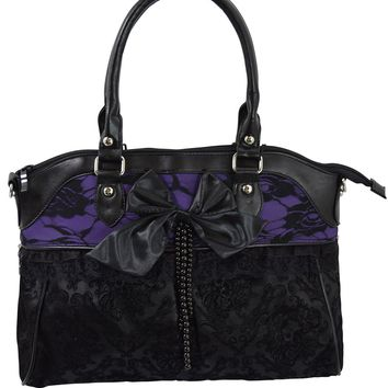 Victorian Gothic Dark Princess Velvet Skull Flocked with Bow Handbag