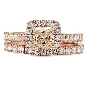 14K Rose Gold 1.9TCW Princess Cut Champagne Russian Lab Diamond Halo Bridal Set