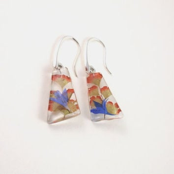 Real flower Resin Earrings  -  Pressed Flower Encased in Resin,  Botanical Sterling Silver Earrings, Maidenhair fern & Cornflower