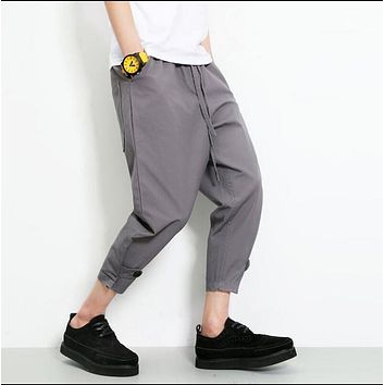 HOT ! Men Summer new casual fashion harem pants loose ankle length trousers turnip trousers hairstylist costumes plus size pants