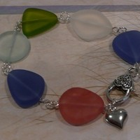 SEABR04 Multi colored Sea Glass Bracelet with Heart Charm