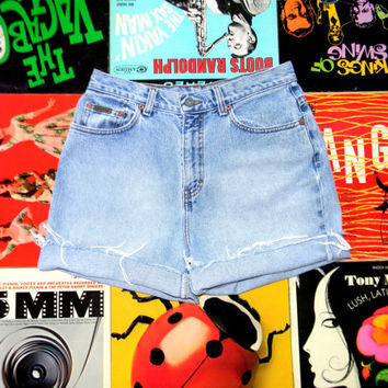 High Waisted Denim Shorts - 90s Light Wash Blue Jean Shorts - Frayed, Cuffed, Naturally Distressed CALVIN KLEIN Shorts Size 12 L Large