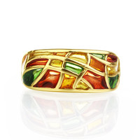 stained glass orange ring autumn ring golden ring jewelry enamel ring jewelry sterling silver gilded ring handmade jewelry gifts for her