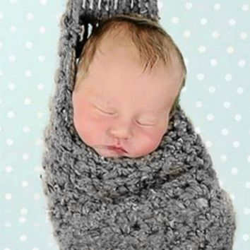 Grey Knit Baby Newborn Crocheted Baby Hanging Stork Cocoon Pouch Prop - CCC228