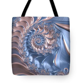 Abstract Fractal Art Rose Quartz And Serenity Tote Bag