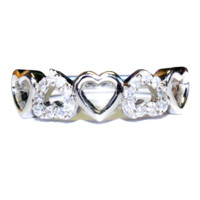 5 Hearts Promise Ring Front - Beautiful Promise Rings