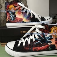 Full Metal Alchemist Converse Shoes, Edward Elric Custom Converse, Full Metal Alchemist Symbols on Shoes
