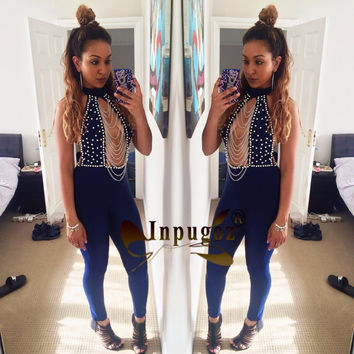 New Club Jumpsuits Sexy Open Chest beads lanyards hanging Halter Women Rompers Royal Blue Full Bodysuits