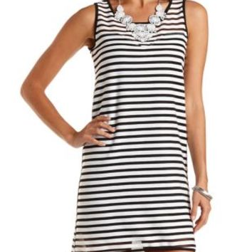 Black/White Striped Sweetheart Shift Dress by Charlotte Russe