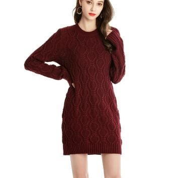 Winter Warm Sweater Dress Women Sexy O-neck Dress Female Long Sleeve Knitted Dress Femme Vestidos Plus size