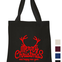 Merry Christmas Cotton Tote shopping school book Bag reindeer father christmas | eBay