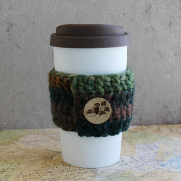 Crocheted Coffee Sleeve - With Hand Carved Wooden Button