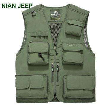 NIAN JEEP Brand Clothing New Summer Mesh Vest Multi-pocket Vest Photography Vest Working Waistcoat men vest size:M-XXXL 70