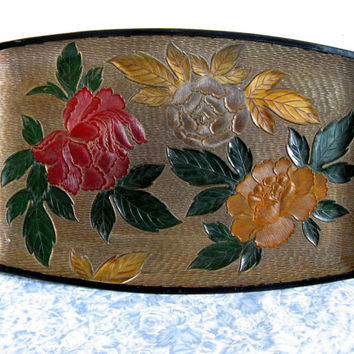 Japanese Vintage Serving Tray 1980s Floral Home Décor