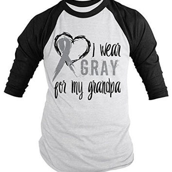 Shirts By Sarah Men's Wear Gray For Grandpa 3/4 Sleeve Brain Cancer Asthma Diabetes Awareness Ribbon Shirt