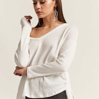 Waffle-Knit Lace-Up Top