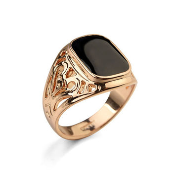Real Italina 18KRGP Yellow Gold White Gold Plated Luxury Brand Vintage Rings for men wedding New Sale Hot #RG91168rose