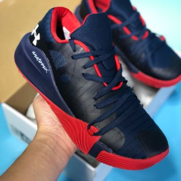 HCXX Under Armour 2018 Mesh Casual Basketball Shoes Dark Blue Red