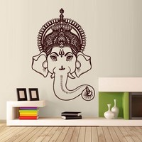 Wall Decals Ganesh Elephant Vinyl Sticker Decor Art Bedroom Design Mural Om Tatoo Head Lord Hindu Success Buddha India Tribal Home Room Gift M1617