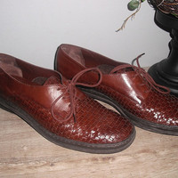 vintage Woven leather oxfords loafers flats ... brown Cool Indie lace up