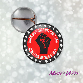 Protest Button Pin, Guy Fawkes, Anonymous, Equal Rights, Gender Equality, V For Vendetta Quote