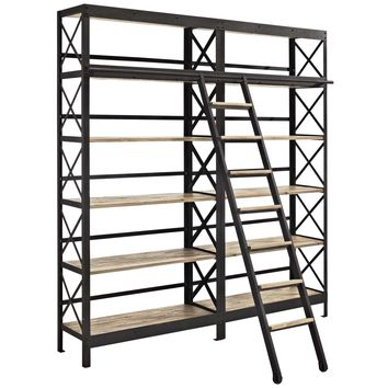 Headway Industrial Modern Wood Bookshelf