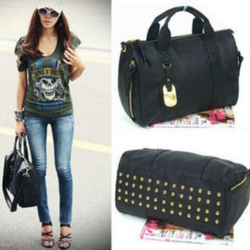 Clutch Messenger Tote Women's Satchel PU Rivet Leather Bag Black Korean style (Color: Black) = 1932645188