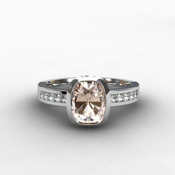 Cushion morganite engagagement ring, diamond ring, pink morganite, bezel, gold, morganite wedding ring, solitaire, rose gold, yellow, white
