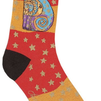 Laurel Burch Socks-Celestial Cat - Orange