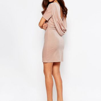 Lashes Of London Ellie Velvet Cowl Back Dress at asos.com