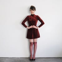 burgundy velvet mini dress . 90s rose print go go dancer .small