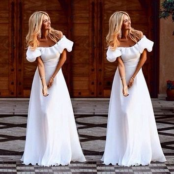 """Beautiful desire"" white off the shoulder maxi cocktail dress"