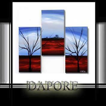 Modern landscape  abstract painting three canvas set