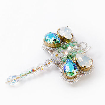 Dragonfly necklace pendant brooch Swarovski crystals jewelry Gift for her Opal Blue Aqua turqouise insect insects flying adder