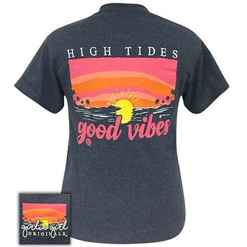 Girlie Girl Originals Preppy High Tides Good Vibes Heather Navy T-Shirt
