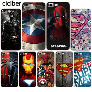 Phone Case Superman Deadpool Iron Man DC Marvel Silicone Soft TPU Coque for Apple iphone 8 7 6 6S plus X 5S SE 7plus Funda Cover